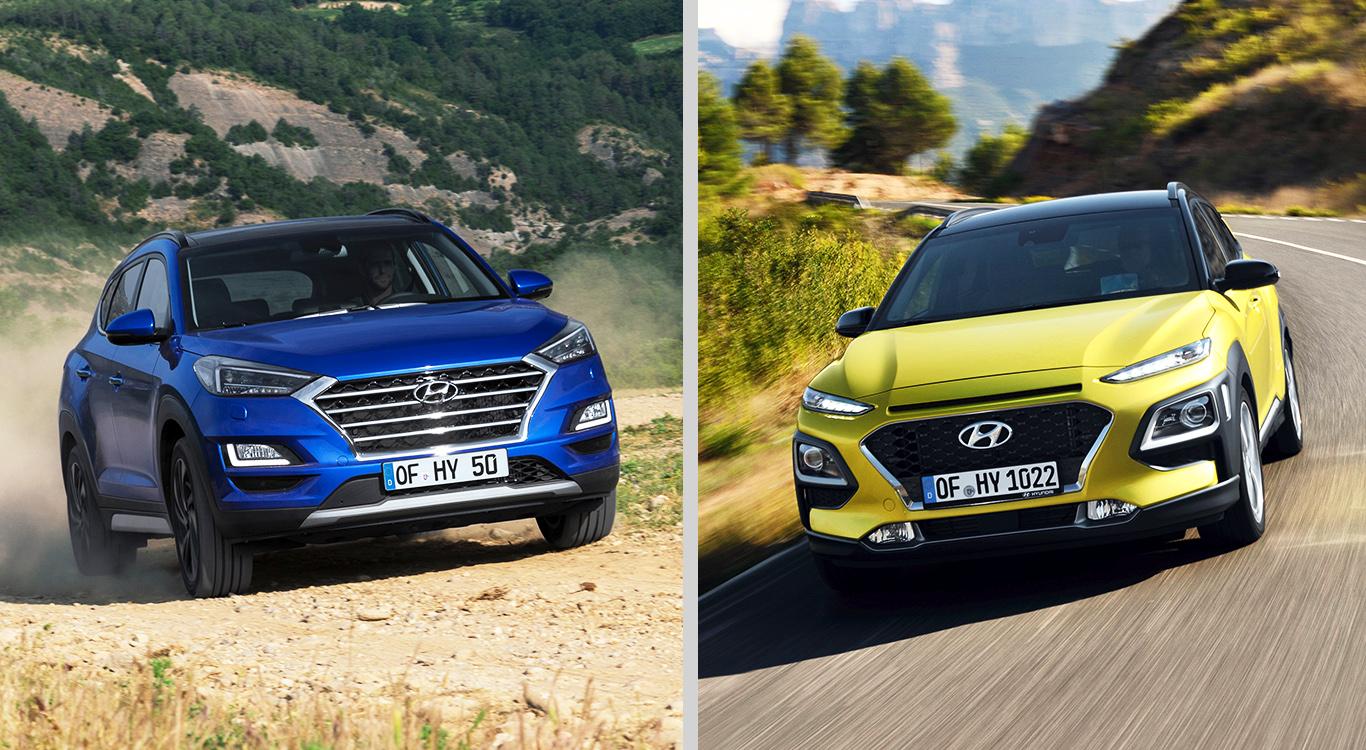 Verbotssicher unterwegs: Die Hyundai-SUV-Modelle Tucson (l.) und Kona.