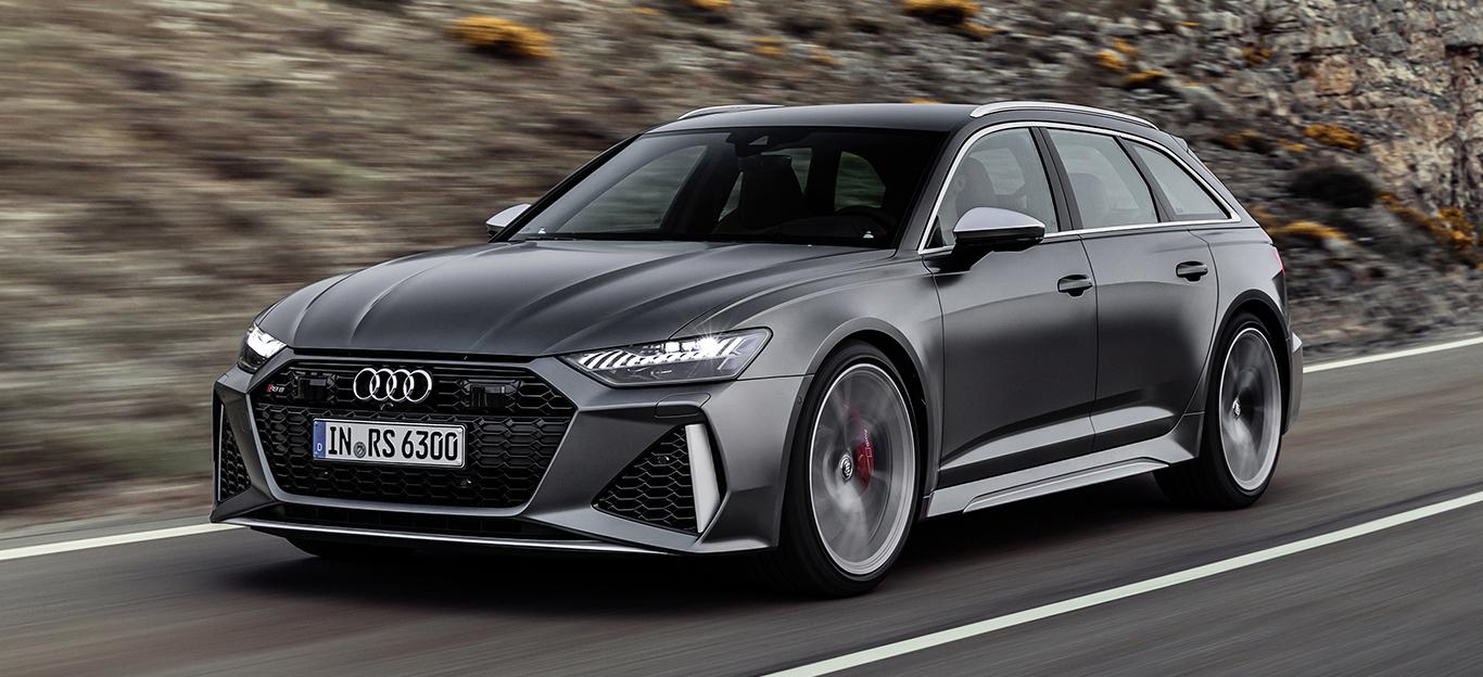 Audi RS 6, Halbseitenansicht von vorn, fahrend, grau