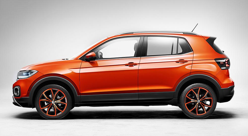 VW T-Cross, Seitenansicht, stehend, orange