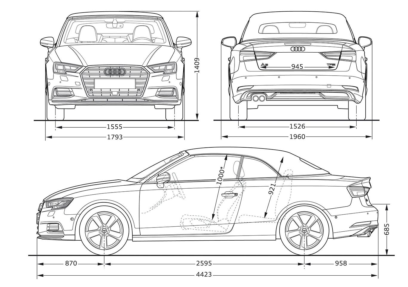 Um genau 35 Millimeter ist das Audi A3 Cabrio kürzer als die Limousine. Zwischen 285 Liter (Frontantrieb) und 320 Liter (Allrad) passen in den Kofferraum.