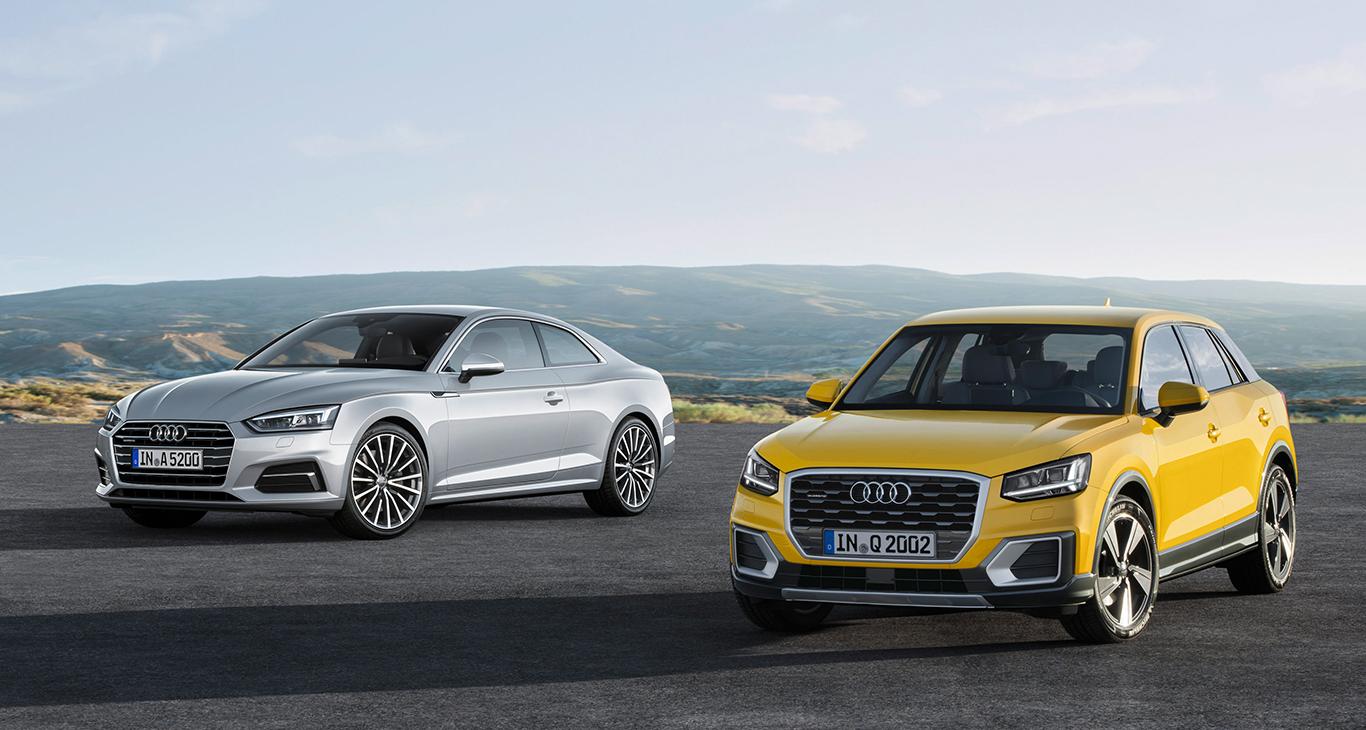 Mitspieler im Premium-Segment: Der Audi Q2 (rechts) ist kein Allerweltswagen - und macht dies in Erscheinung und Auftreten auch unmissverständlich klar! Hier im Bild als Tandem mit dem Klassiker Audi A5.