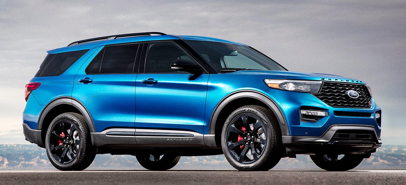 Ford Explorer 2019, Hybrid-SUV, Neuheit, blau