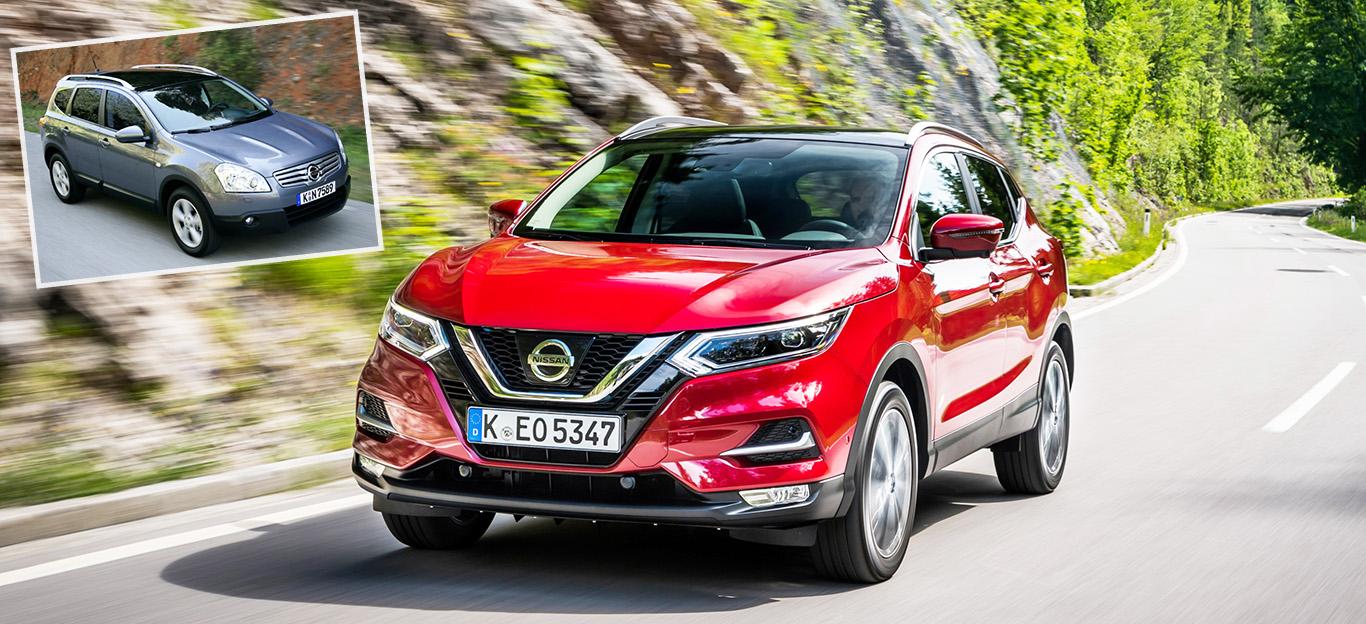 Nissan Qashqai, Generation 1 und 2, Halbseitenansicht von vorne und vorne oben, fahrend, grau und rot