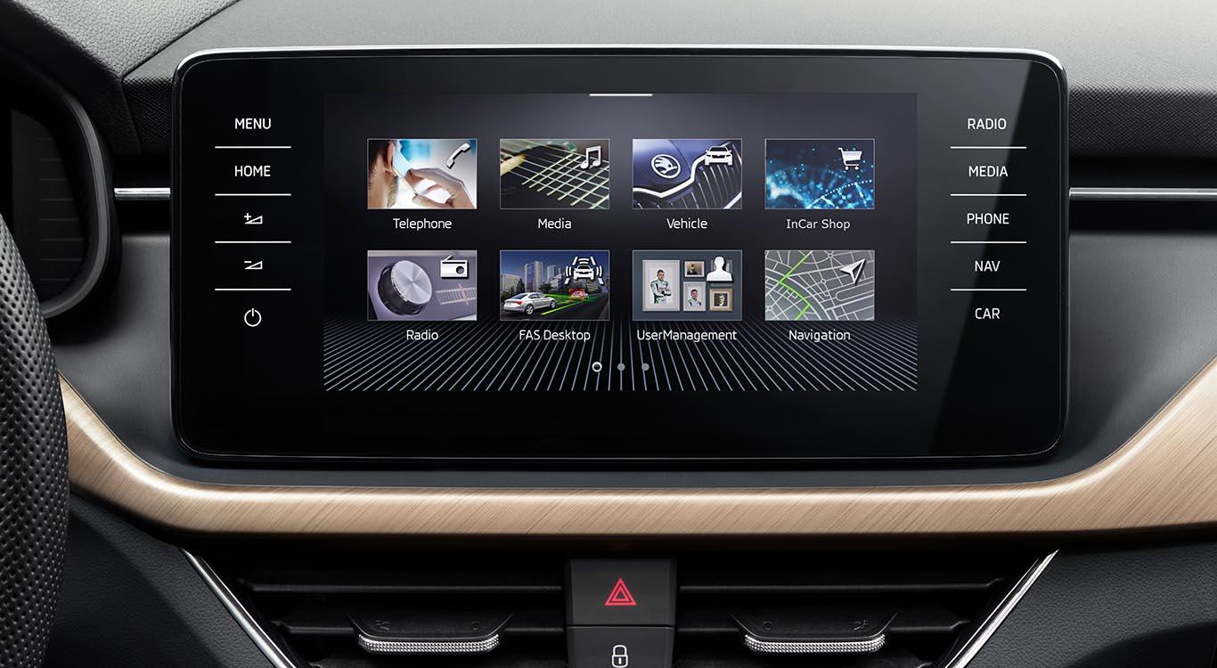 Foto: Das Touchscreen-Display thront erstmals in einem Skoda-Modell freistehend auf dem Armaturenbrett. Die Bildschirm-Diagonale beträgt maximal 9,2 Zoll.