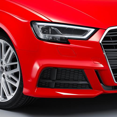 Audi A3 Sportback, Nahaufnahme Front, Scheinwerfer und Lufteinlässe, rot