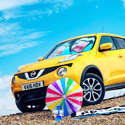 Nissan Juke: seitliche Frontansicht, gelb