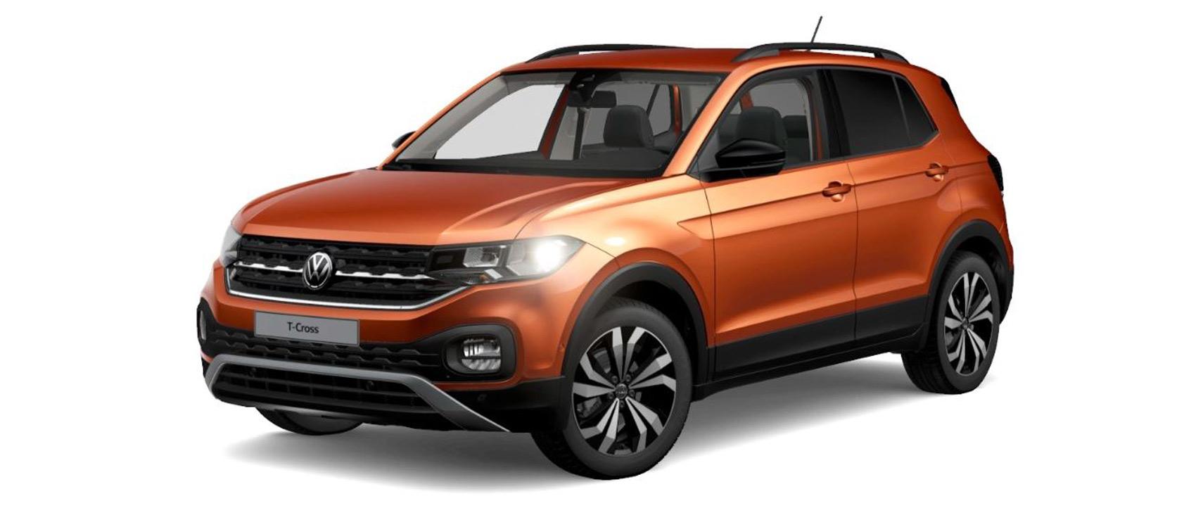 """Mit 110 PS, 17-Zoll-Felgen und in der Farbe """"Energetic Orange Metallic"""": so präsentiert sich unser VW T-Cross im Konfigurator."""