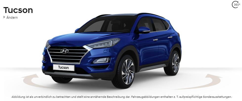 """Unser Hyundai Tucson """"Style"""" in """"Stellar Blue Metallic"""" und mit 19-Zoll-Leichmetallfelgen."""