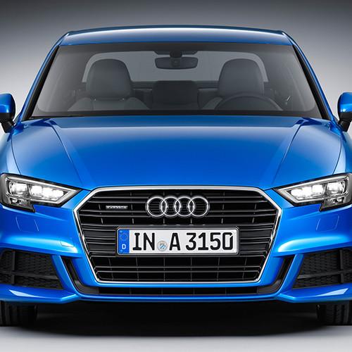 Audi A3 Limousine, Frontansicht, stehend, blau