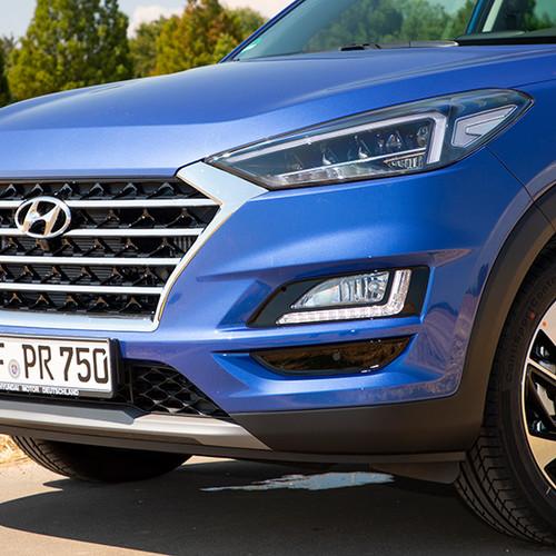 Hyundai Tucson, seitliche Nahaufnahme Kühlergrill / Front
