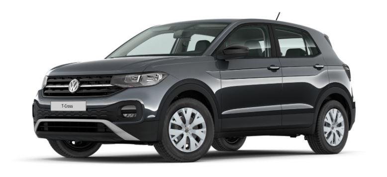 """Der T-Cross 2019 als """"Rohversion"""" in der Farbe """"Uranograu Uni"""". Bis hierher ist das Volkswagen SUV noch ohne Aufpreis."""