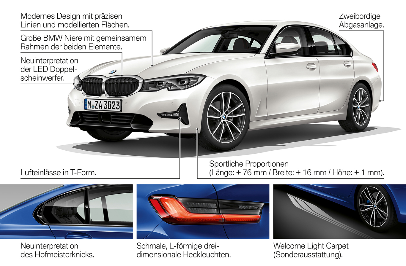 Die Exterieur-Highlights des neuen 3er BMW.