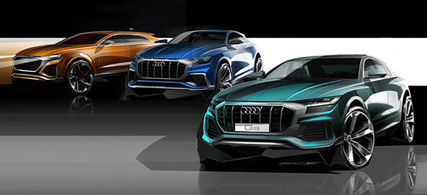 Das Kopieren des Designs anderer Audi-Modelle kann man dem Hersteller nicht vorwerfen: Der Q8 rollt mit einem neuen SUV-Gesicht auf die Straße.