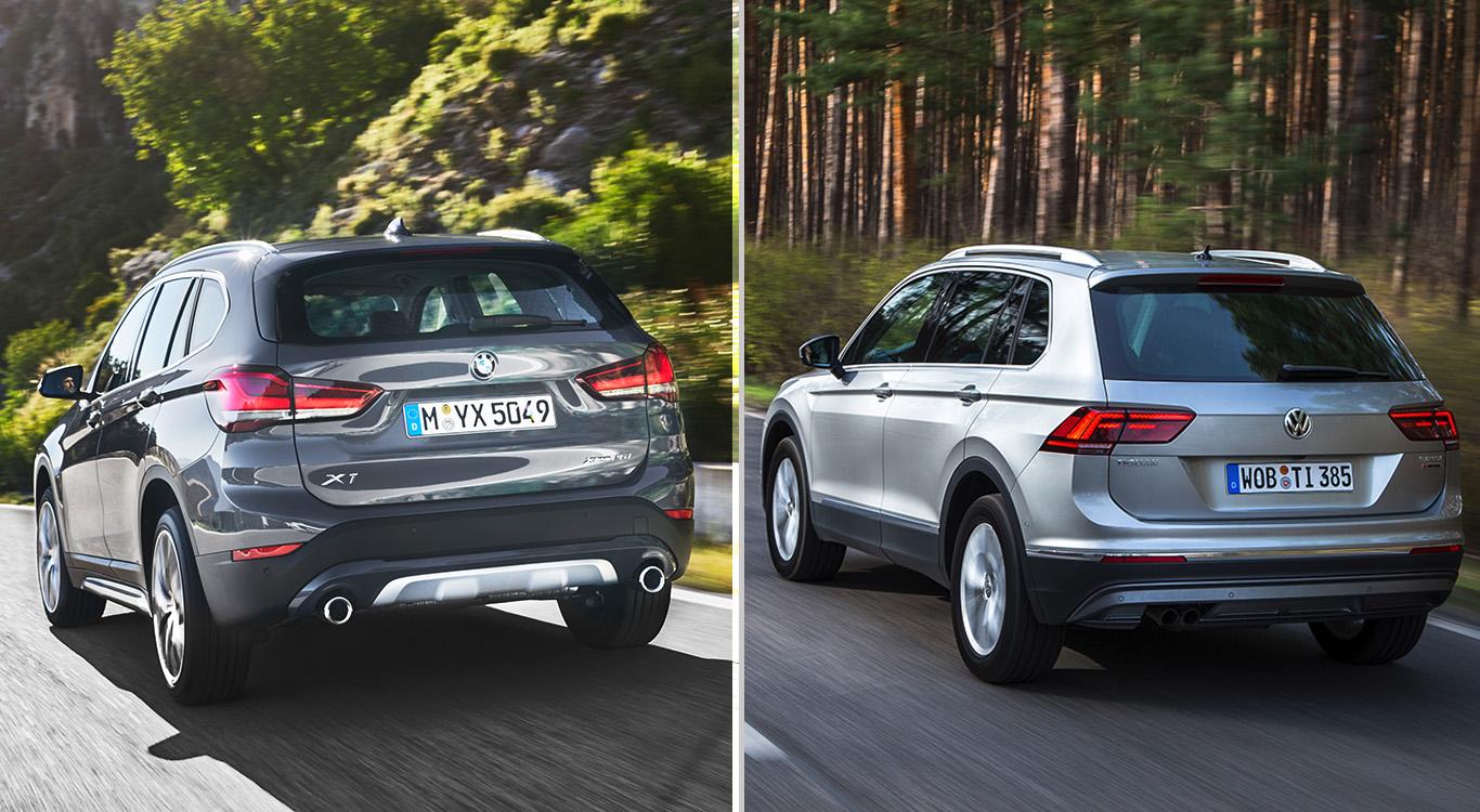 Zwei kompakte SUV-Bestseller aus Deutschland: der neue BMW X1 und der VW Tiguan.