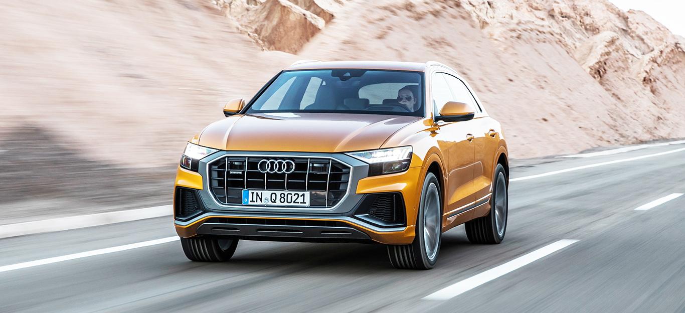 Audi Q8 2018, Frontansicht, Fahraufnahme