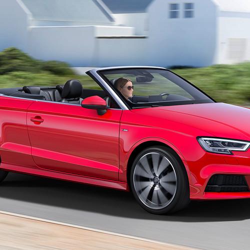 Audi A3 Cabrio, Halbseitenansicht von vorn, fahrend, rot