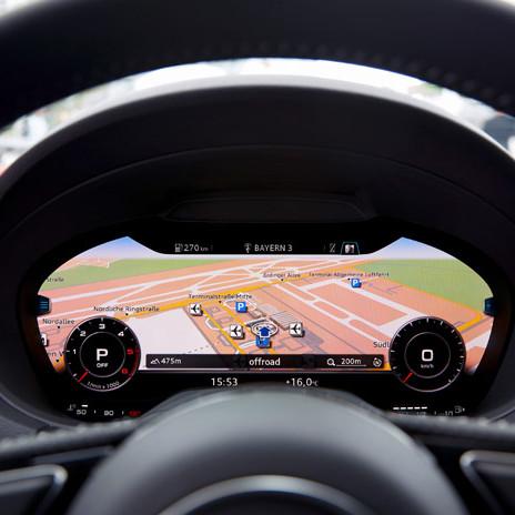 Virtuelles Cockpit eines aktuellen Audi A3 Sportback.