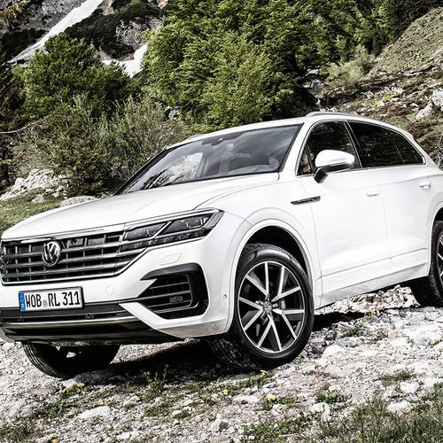 VW Touareg 2018, weiß, Frontansicht