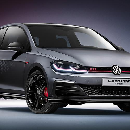 VW Golf 7 GTI TCR, Halbseitenansicht von vorn, stehend, dunkelgrau