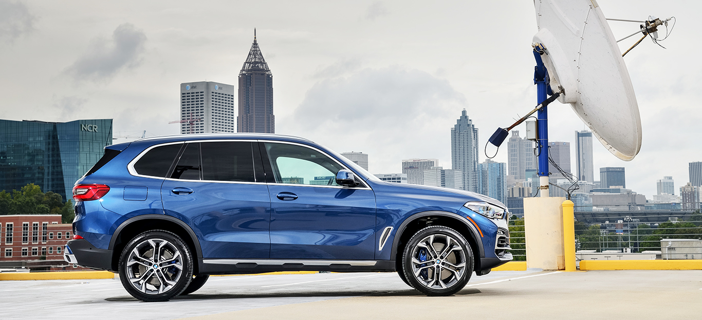 BMW X5 2018, blau, Seitenansicht