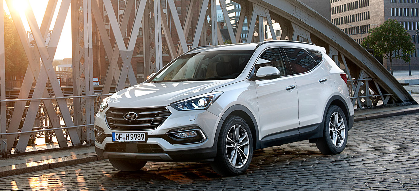 Hyundai Santa Fe 2017 Frontansicht weiß