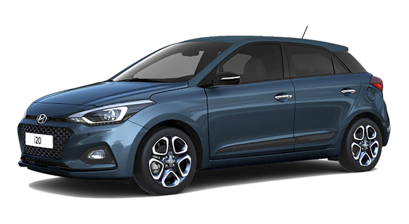 """Das Ergebnis des Konfigurator-Checks: Unser Hyundai i20 in """"Aqua Sparkling Metallic"""", mit 16-Zoll-Leichtmetallfelgen."""