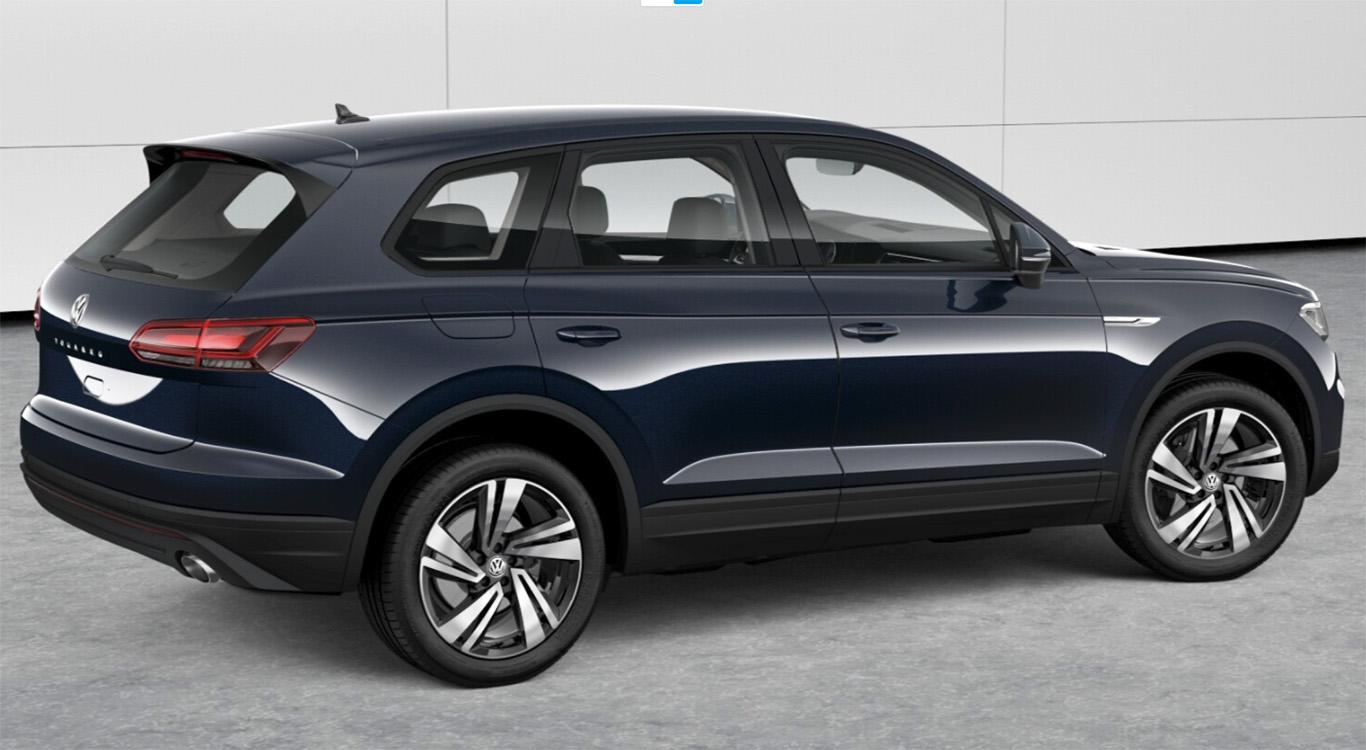 """Die Lackierung """"Moonlight Blue Perleffekt"""" und 20-Zoll-Felgen vom Typ """"Nevada"""": unser Zwischenstand beim Konfigurieren des VW Touareg."""