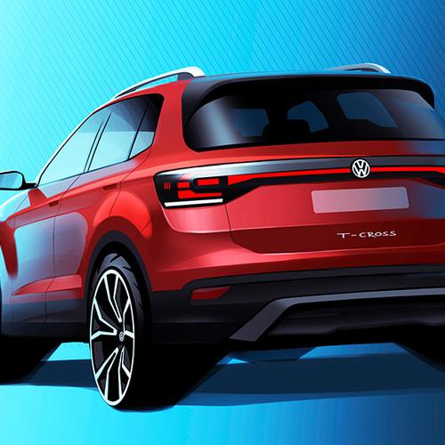 VW T-Cross, Designskizze, Halbseitenansicht von hinten, rot