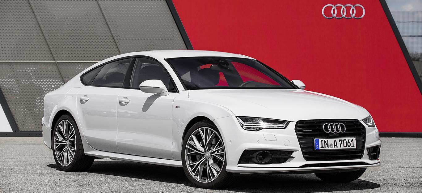 Seitenansicht eines weißen Audi A7