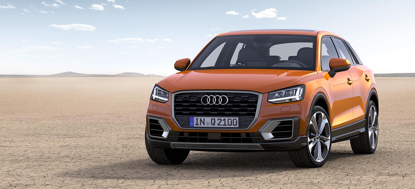 Audi Q2, seitliche Frontansicht, orange