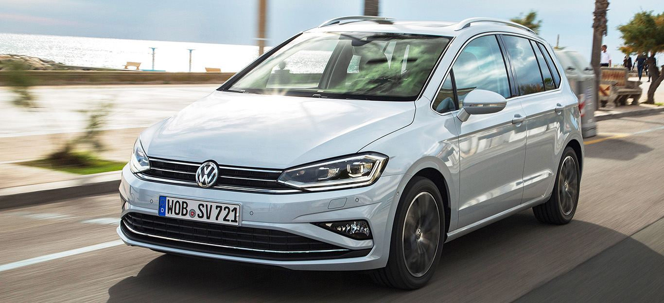 VW Golf Sportsvan 2018 Facelift Fahraufnahme Front