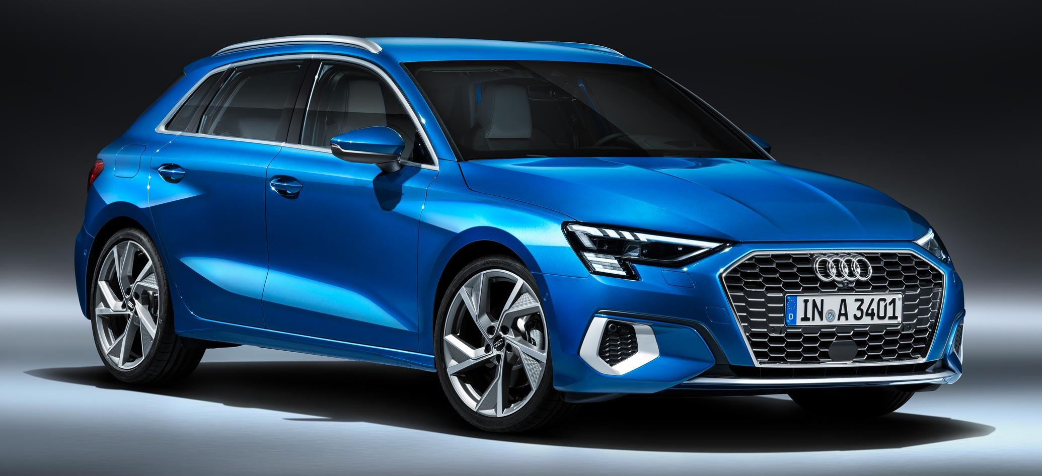 Audi A3 Sportback 2020, Halbseitenansicht von vorne, stehend, blau