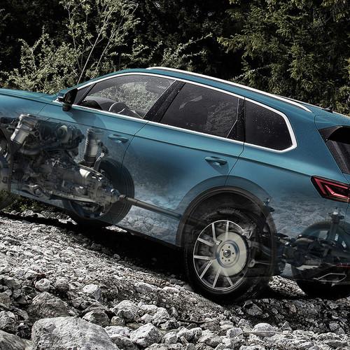 VW Touareg, Halbseitenansicht von hinten, Illustration Getriebe