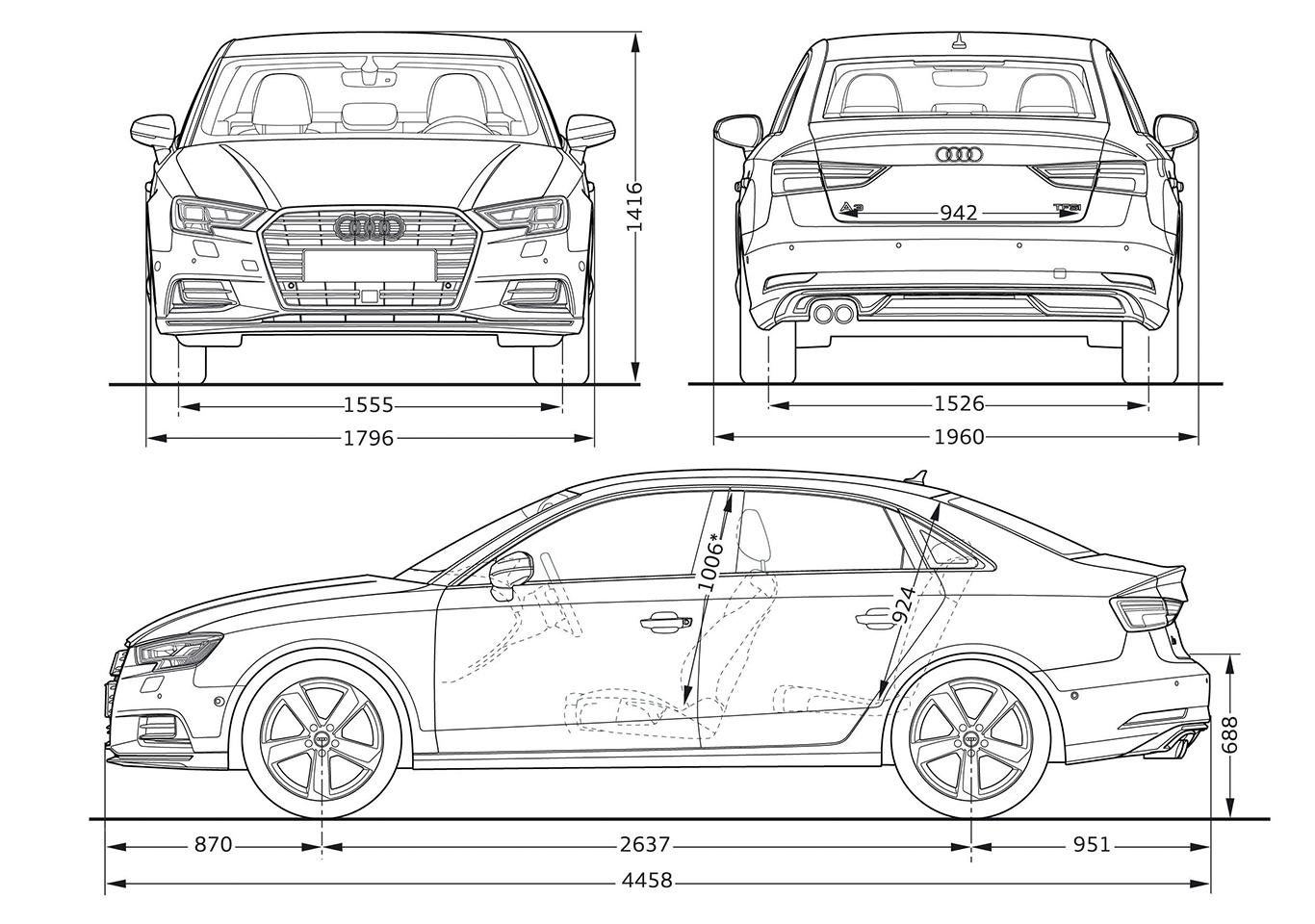 Die 35 Millimeter mehr in der Länge der A3 Limousine wirken sich auch auf ihr Zuladevermögen aus. 425 Liter fasst der Kofferraum. Das sind 105 Liter mehr als im Cabrio.
