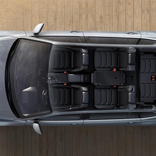 VW Tiguan Allspace, Aufsicht, Blick ins Innere mit 7 Sitzen