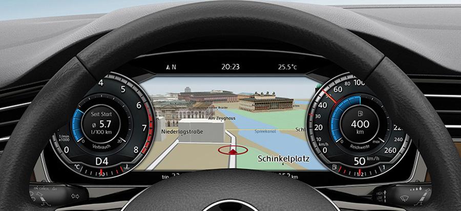 """Im Cockpit: Das """"Active Info Display"""" ersetzt die hundertjährige Instrumententafel - gegen einen Aufpreis von 665 Euro."""