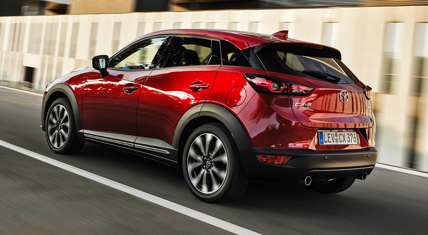 Der aufgefrischte Mazda CX-3 ist auch von hinten eine Augenweide.