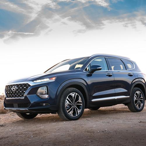 Hyundai Santa Fe 2018, blau, Frontansicht