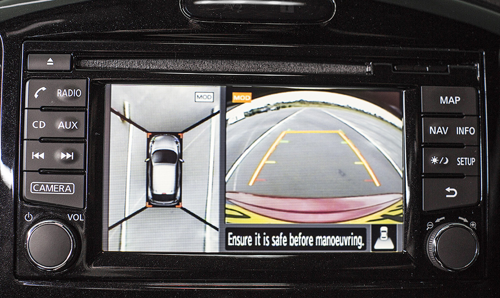 Die Rückfahrkamera ist beim Nissan Juke Nismo RS in Serie verbaut.