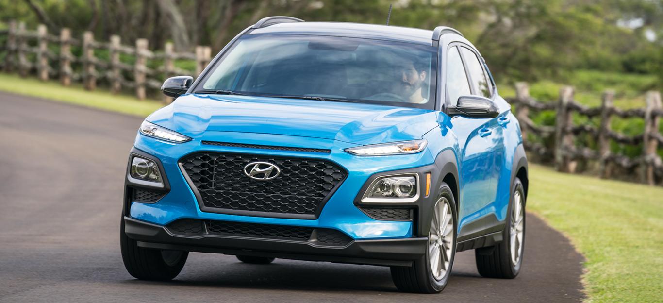 Hyundai Kona 2018, blau, Frontansicht