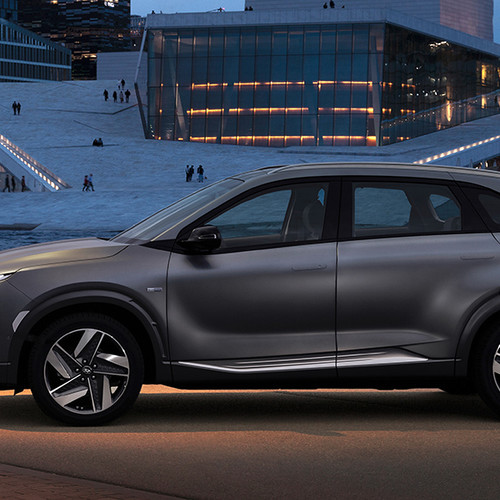 Hyundai Nexo, Seitenansicht, stehend, grau