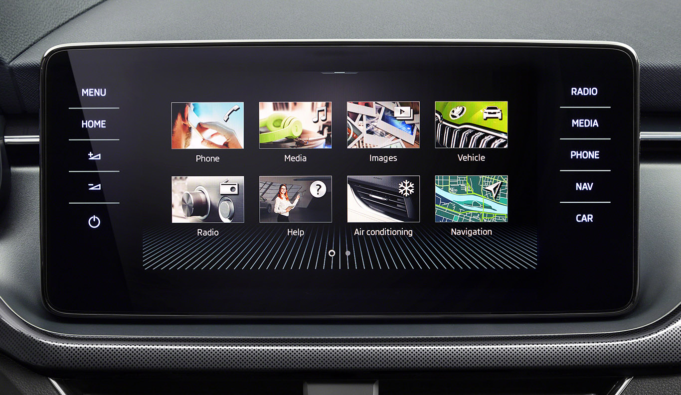 """Zum Infotainmentsystem """"Bolero"""" gehört unter anderem das kapazitive Multi-Touch-Display in 8,0 Zoll. In einem Skoda Kamiq """"Style"""" ist dieses attraktive Funktionsfeature bereits in Serie verbaut."""