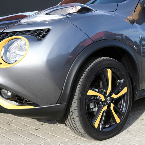 Bugansicht Nissan Juke mit Exterieur-Paket San Diego Yellow