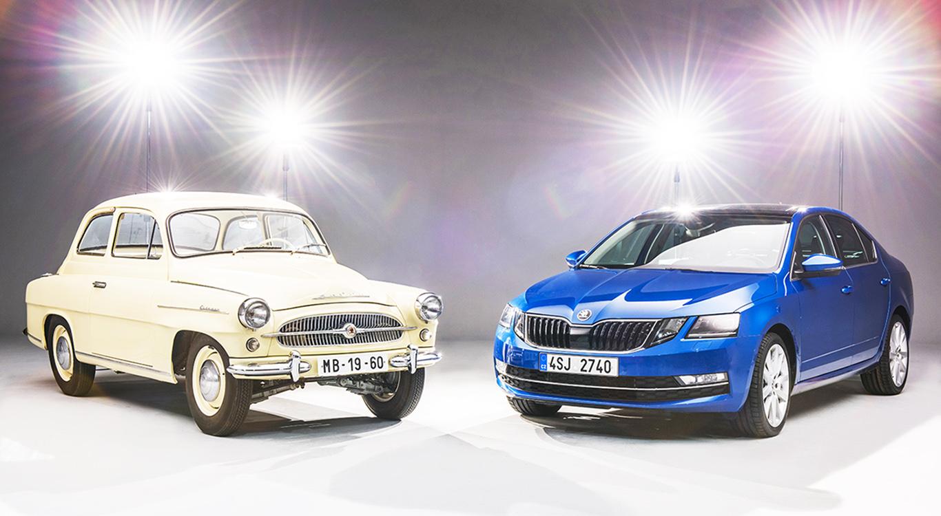 Foto: Urahne und Nachkomme: Links der erste, ab 1959 produzierte Skoda Octavia. Rechts die aktuelle, dritte Generation unter VW-Ägide.