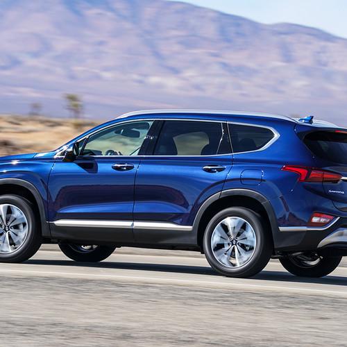 Hyundai Santa Fe 2018, blau, Seitenansicht