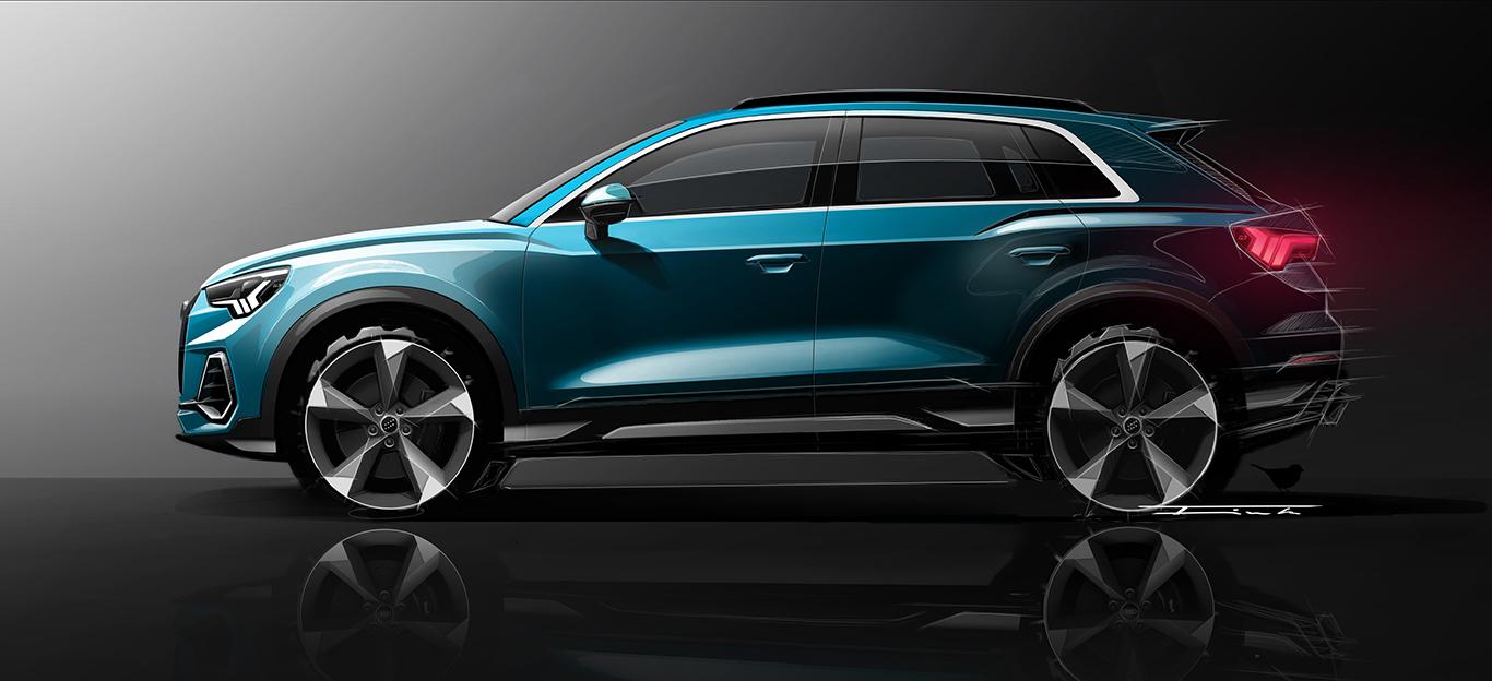 Audi Q3, Seitenansicht, Design-Skizze
