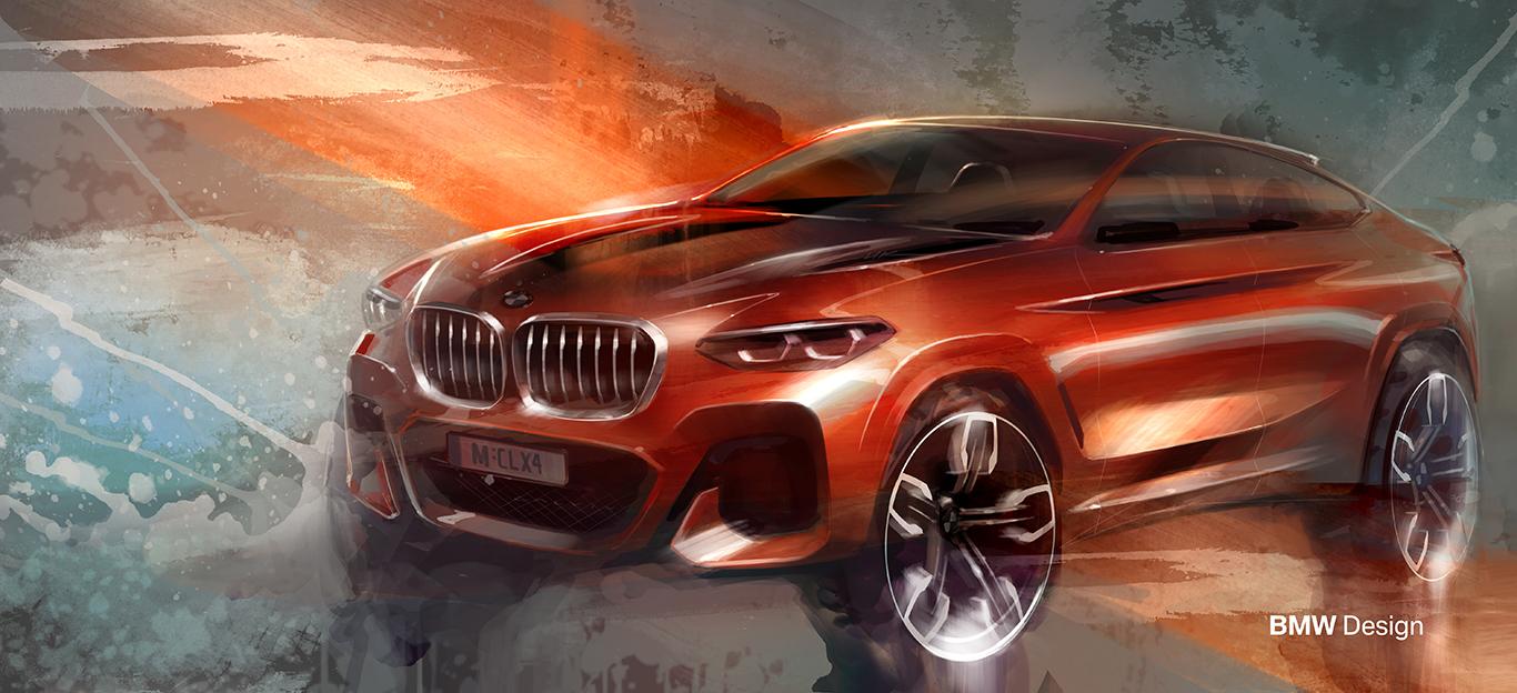 BMW X-Modell in Halbseitenansicht von vorne, Design-Skizze