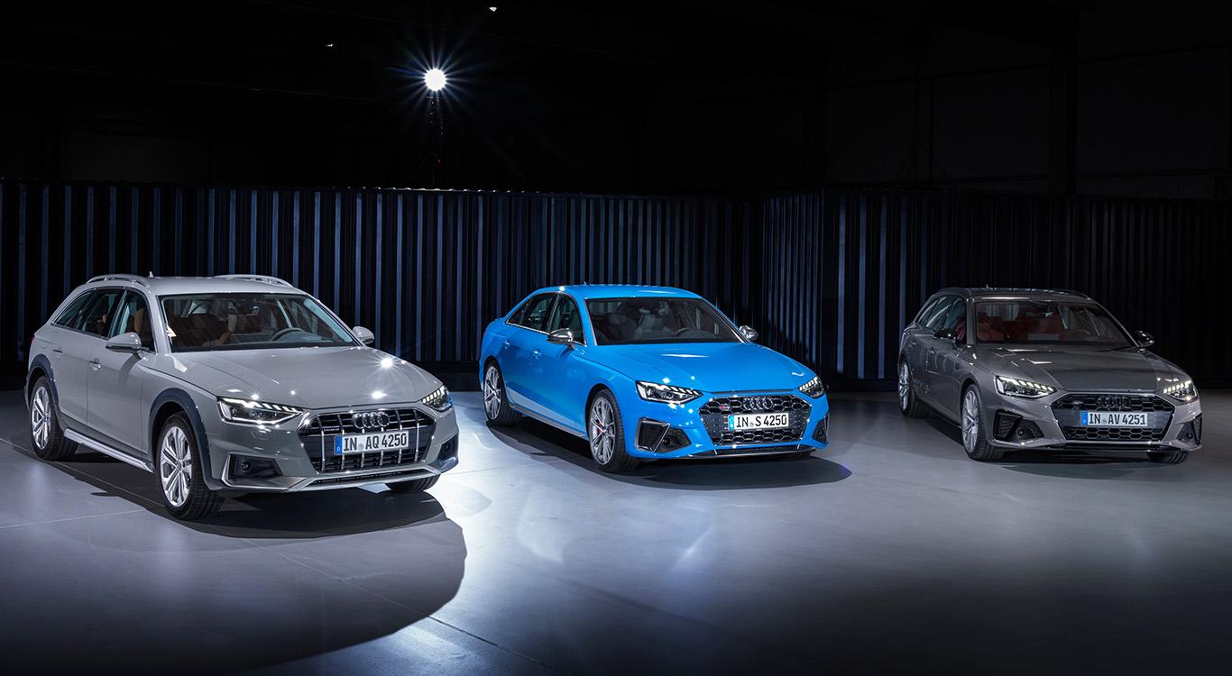 Audis neue Mittelklasse-Ära beginnt im Herbst 2019 mit einem Facelift: A4 Allroad, S4 Limousine und der Kombi A4 Avant (v.l.).