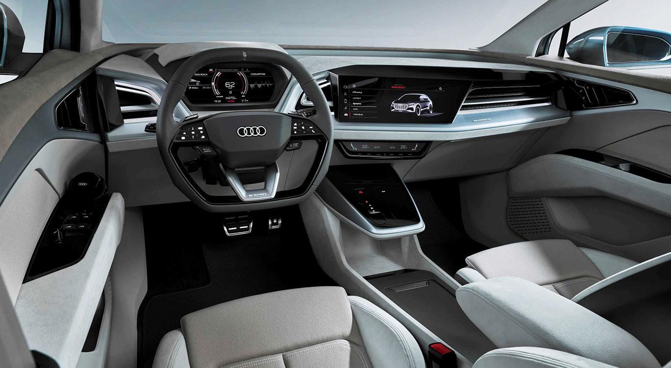 Futuristisch, hell und geräumig: So wird sich der Ausblick auf den Audi Q4 e-tron in Genf präsentieren.