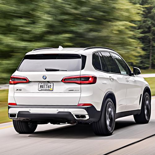 BMW X5 2018, weiß, Heckansicht